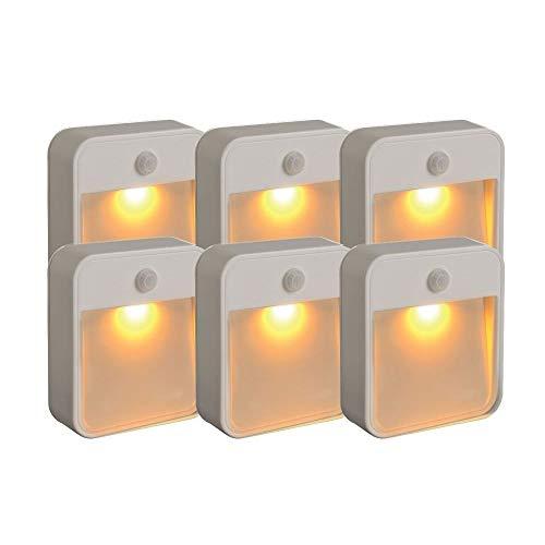 CHENJIA Inteligente Inducción Led Luz de noche, Batería LED de detección de movimiento Stick - Cualquier luz de noche con luz ámbar, Blanco (Size : Six packs)