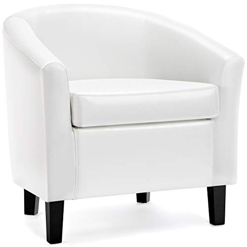 arm chairs Yaheetech Accent Chair Barrel Chair Faux Leather Club Chair Arm Chair for Living Room Bedroom Reception Room White