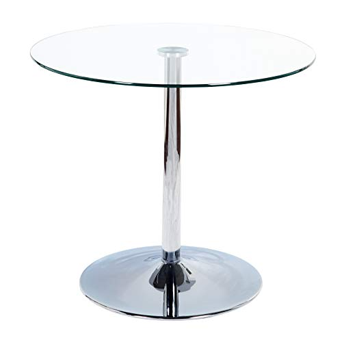 Target Marketing System Pisa Modern Retro Round Dining Table, 35.4' W, Clear