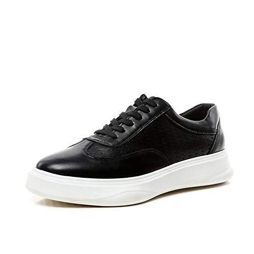 Comfortabel en ontspannen Fashion Sneakers for mannen Lage Top Skate schoenen Lace Up Microfiber Leather Patchwork Solid Color Hollow Out ronde neus Anti-slip hjm (Color : White, Size : 41 EU)