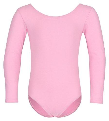 tanzmuster ® Ballettanzug Mädchen Langarm - Lilly - (Größe 92-170) aus Baumwolle, Ballettbody Ballett Trikot in rosa, Größe 104/110