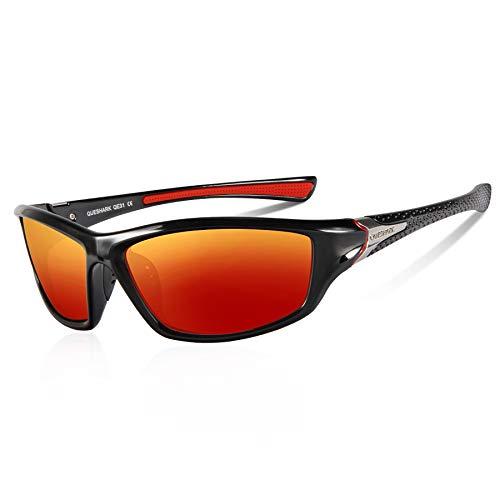 Queshark Lunettes de Soleil Homme Sport Polarisées 100% Anti UV400 Cadre Incassable (Noir Rouge)