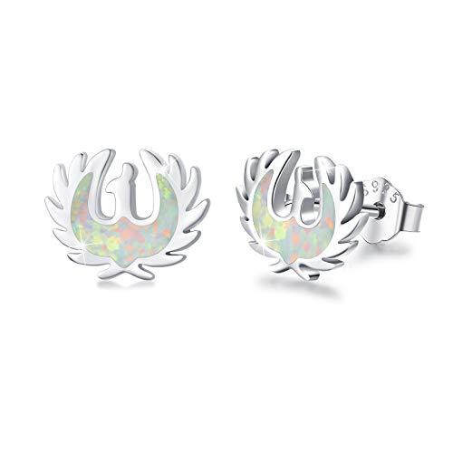 Phoenix Earrings Stud 925 Sterling Silver White Fire Opal Birthstone Jewellery Hypoallergenic Phoenix Gift Birthday Presents for Women Oriental Mystic Bird Auspicious Cloud Amulet Lucky Charm Earrings
