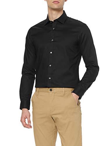 Marca Amazon - MERAKI Camisa de Vestir Estilo Óxford con Corte Entallado Hombre, Negro (Black), XXL, Label: XXL