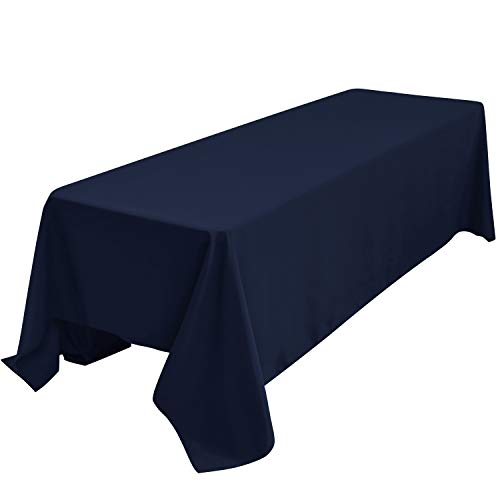 Obstal 210GSM Rectangle Table Cloth - Heavy Duty Water Resistance Microfiber Tablecloth Decorative Fabric Table Cover for Outdoor and Indoor Use Navy Blue90x132 Inch