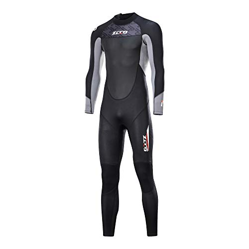 Dyung Tec Wetsuits Mens 3mm Neoprene Full Body Long Sleeve Suit Skins for Spearfishing Scuba Diving Surfing Snorkeling Swimming (Gray, XXXXL)