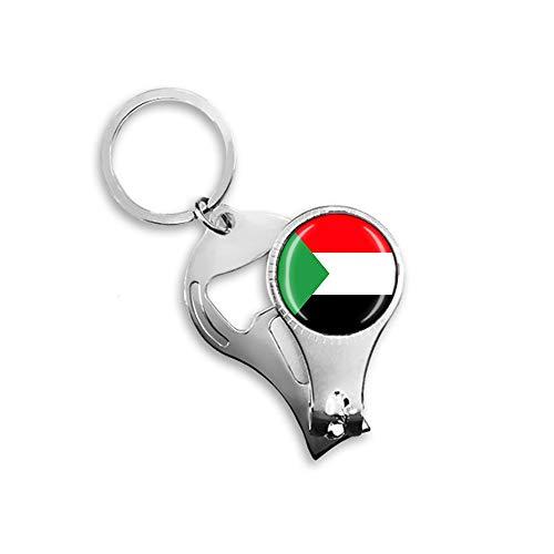 Sudan-Flagge Bierflaschenöffner, Nagelknipser, Metall, Glas, Kristall, Schlüsselanhänger, Reise-Souvenir, Geschenk, Schlüsselanhänger Zubehör
