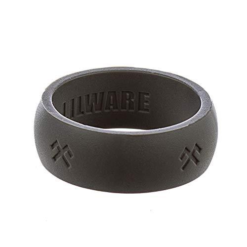 Lilware Silicone Wedding Ring Anillo de Bodas de Silicona. Banda para Personas de Estilo de Vida Activo con el Símbolo de Jumis. Talla 8. Gris