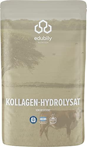 Kollagen Hydrolysat von edubily® Aus zertifizierter Weidehaltung • Premium Kollagen Pulver mit Co-Faktoren zur Gelenkgesundheit & kräftiges Bindegewebe • Im recyclebaren Beutel (350 g)