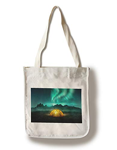 Lantern Press Glowing Yellow Camping Tent Under a Beautiful Green Northern Lights Aurora 9027593 (100% Cotton Tote Bag - Reusable)