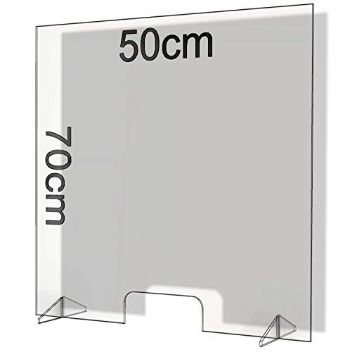 Parafiato in Plexiglass Barriera Plexiglass Parasputi in Plexiglass Barriere Barriera Protettiva Divisorio Separatore da Banco Bancone Divisori per Ufficio Pannelli Lastre Pannello (50x70)