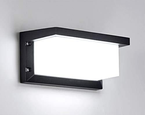 HAOFU 12W Applique Parete per interni/esterno LED nero moderno, Lampada da parete in alluminio IP65 Impermeabile, Lampada Muro 6000K Bianco Freddo