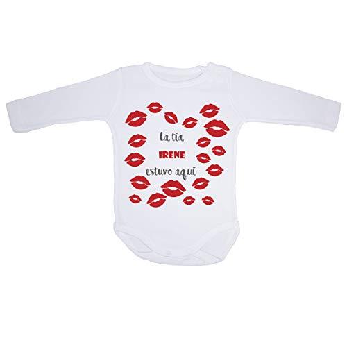 AR Regalos Body bebé Personalizado La tía [Nombre] estuvo aquí (0 a 3 Meses)