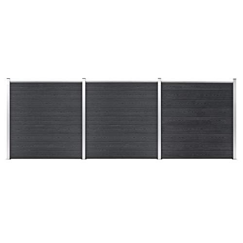 UnfadeMemory Gartenzaun WPC Zaunpaneel-Set Grau WPC-Zaun Zaunbrett Sichtschutzzaun Holz-Kunststoff-Verbundwerkstoff WPC-Zaunelement Windschutz und Sichtschutz (526x186 cm)