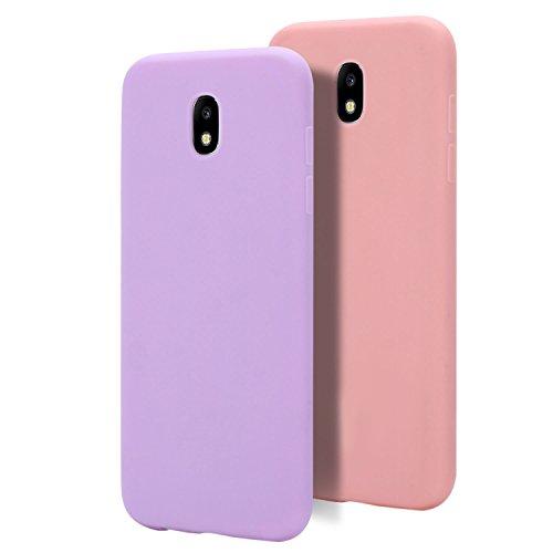 MoEvn 2X Custodia per Samsung J5 2017 Cover, Slim Morbido in TPU Silicone Posteriore Case per Samsung Galaxy J5 2017 Smartphone Opaco Gel Flessibile Sottile Protezione Bumper (Viola + Rosa)