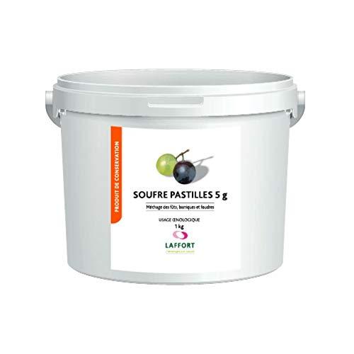 LAFFORT 200 Pastillas de Azufre 5gr para Sulfitado de Barricas y Cubas de Madera, Vino, Mostos, Uso enológico - Bote 1 kg