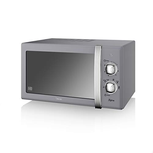 Swan SM22130GRN Retro Manual Microwave, 20 Litre, 800 W, Grey