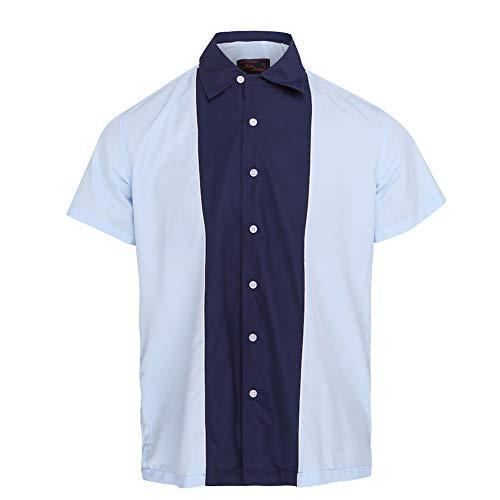 Neon Lounge Herren Himmel-/Marineblaues Bowling Shirt L