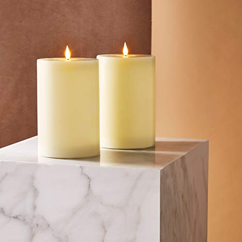 Realistic Flameless Candles 4x6 - Battery Operated, Ivory Real Wax, 3D Flickering Flame with Wick, Easter or Wedding Decoration or Home Decor Gift, Remote Control & Timer Included - Set of 2