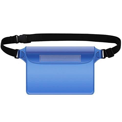 TreeLeaff - Bolsa impermeable con correa ajustable para la cintura, impermeable, con pantalla táctil, con cinturón ajustable, para playa, natación, navegación, pesca, senderismo, color azul