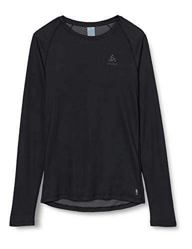 Odlo Herren BL TOP Crew Neck l/s Active F-Dry Light Unterhemd, Black, L