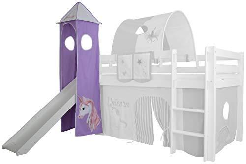 XXL Discount Turm-Vorhang 100% Baumwolle für Hochbett Spielbett Stockbett Kinderbett Kinderzimmer Spielturm mit Turmgestell (Lila/Weiß, Einhorn)