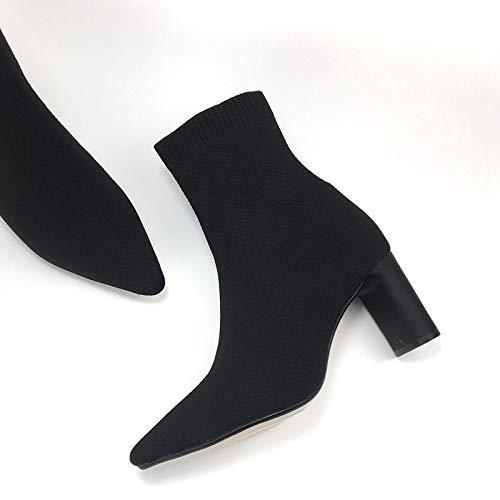 Shukun enkellaarsjes Dames Schoenen Herfst En Winter Sokken Laarzen Punt Dik Met Hoge Hakken Stretch Korte Dames Laarzen Dikke Dunne Laarzen