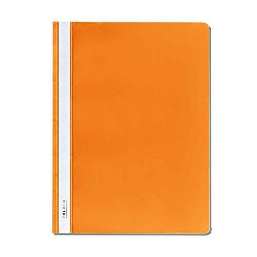 Original Falken Plastik-Schnellhefter. Aus PP-Folie für DIN A4 kaufmännische Heftung orange Hefter ideal für Büro und Schule