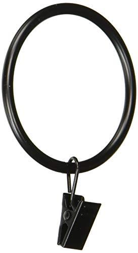 Rod Desyne 2 inch Curtain Rings w/Clip, Black