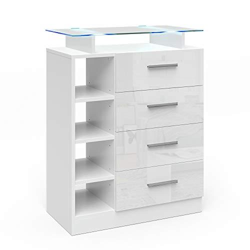 Vicco Kommode Asti Highboard LED Beleuchtung Glasablage Wohnzimmerschrank weiß (4 Schubladen)