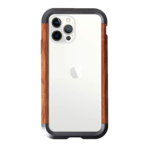 LUVI for iPhone 12/iPhone 12 Pro 6.1 Case Wood Metal Bumper 2 in 1 Hybrid Frame Edge Aluminum Metal Nature Wooden Protective Cover Drop Protection Ultra Thin Clear Transparent Case