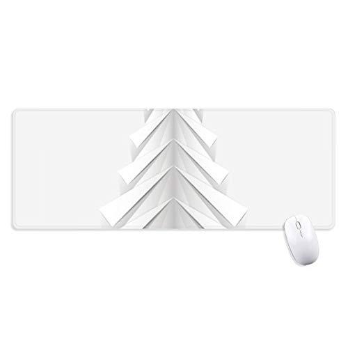 beatChong Blanco Abstracta De Origami Árbol De Navidad Antideslizante Alfombrilla De Ratón Oficina Grande Juego Extendido Bordes Titched Regalo Estera Ordenador