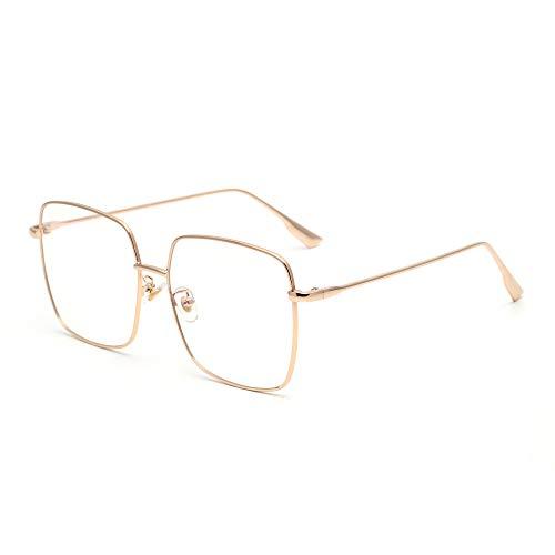 JM Montatura per Occhiali in Metallo Moda Occhiali da Computer Quadrati Anti Luce Blu Protezione Degli Occhi Donna Oro