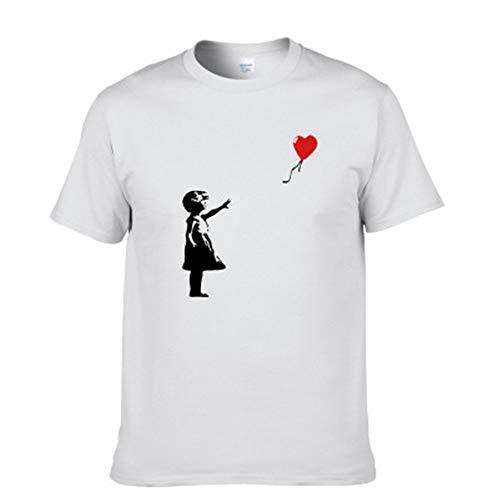 YLSMN Short-Sleeve Herren Sommer Neue T-Shirt Baumwolle Tops Tees Ballon Mädchen Banksy Männer Kurzarm Jungen Casual T Shirt X1 XXXL
