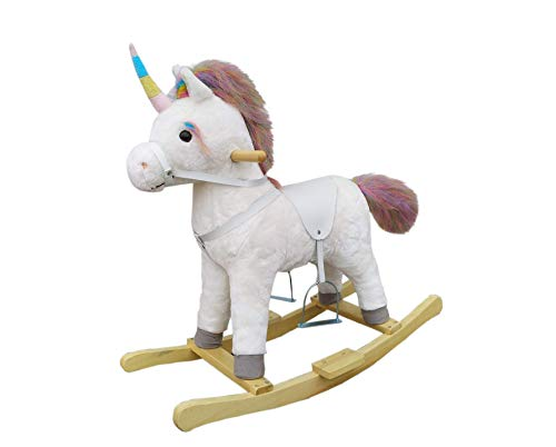 The Rocking Horse Co. - White Rocking Unicorn - Rainbow Horn, Mane £ Tail - Plush Finish - Complete with Sounds - On solid wood rockers