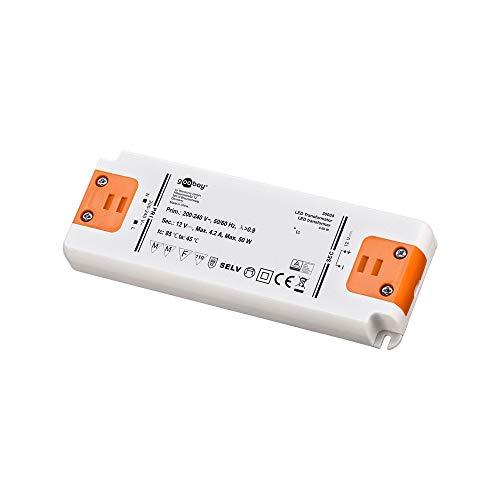 Goobay 30004 LED Transformator 230V auf 12V – LED Niedervolttrafo für LED Beleuchtungen – Gesamtlast bis 50 W – 159 x 59 x 18 mm