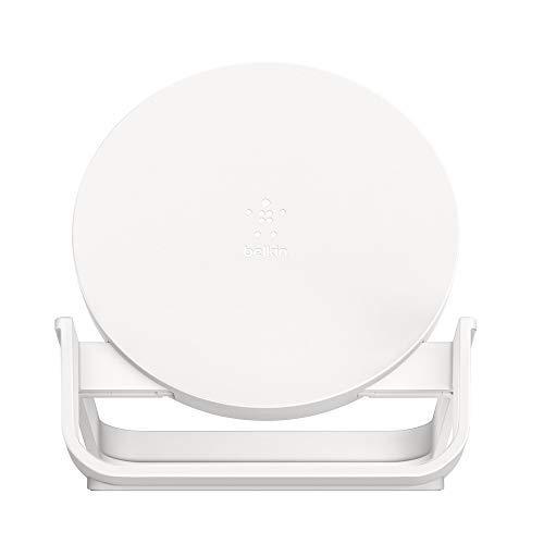 Belkin - BoostCharge Soporte de carga inalámbrica de 10 W, cargador inalámbrico rápido con certificación Qi para iPhone y teléfonos de Samsung, Google y otros, blanco