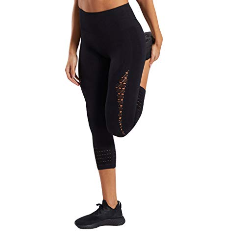 Best Bargain ZhixiaYS Women's Hollow-Out High-Waist Yoga Pants Leisure Running Seven-minut Pants Bla...