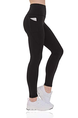 Eedor High Waist Yoga Pants with Pockets Tummy Control Full-Length Workout Leggings for Women Carbon Black Small