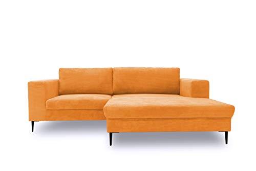DOMO. collection Modica Ecksofa, moderne L-Form Eckcouch, Sofa Eckgarnitur, orange, 244x173x83