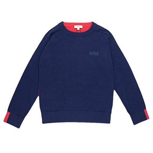 BOSS Hugo Strickpullover Baumwolle - blau, rot, Größe:6 Jahre / 116