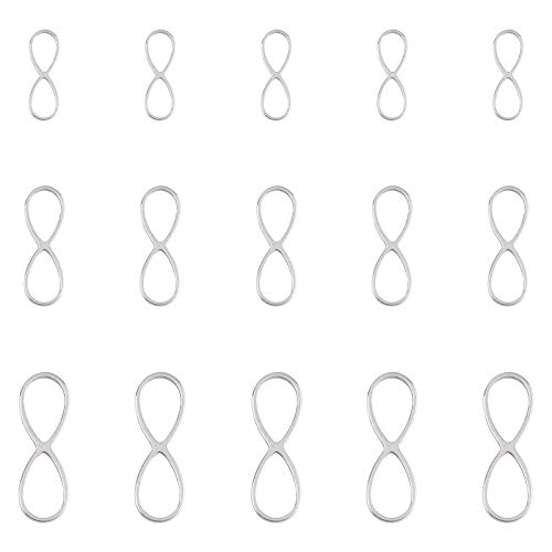 UNICRAFTALE 3 Sizes about 36pcs Infinity Links Stainless Steel Links 15-26mm Long Hollow Charm Connector Metal Charm Linking Pendant for Jewelry Making Stainless Steel Color