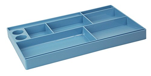 Acrimet Drawer Organizer Bin Multi-Purpose Storage for Desk Supplies and Accessories Plastic Solid Blue Color