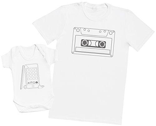 Zarlivia Clothing Cassette Tape and Phone - Ensemble Père Bébé Cadeau - Hommes T-Shirt & Body bébé - Blanc - M & Naissance