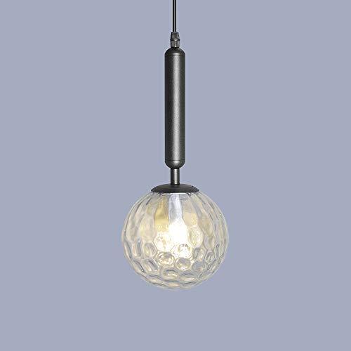 Artpad zwarte hanglamp, moderne schaduw helder glas schaduw plafond hanglamp met E14 witte gloeilamp voor nachtkastje eetkamer restaurant doekwinkel