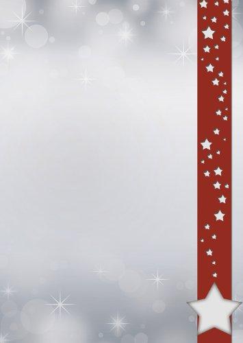 Briefpapier Weihnachten weiße Sterne im roten Banner 100 Blatt DIN A4 90 g/m² 5523