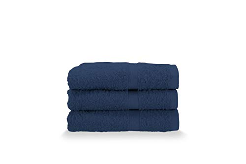 Gabel Toallas de Invitados, Rizo de Puro algodón hidrófilo, 40 x 60 cm, Azul, Juego de 3 Unidades