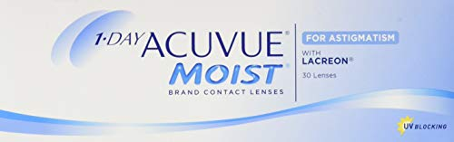 Acuvue 1-Day Moist For Astigmatism Tageslinsen weich, 30 Stück / BC 8.5 mm / DIA 14.5 mm / CYL -2.25 / ACHSE 70 / -0.5 Dioptrien