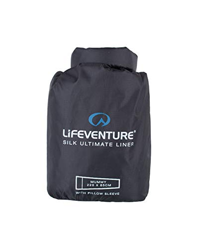 Lifeventure 65650 Silk Ultimate Sleeping Bag Liner, Mummy (Black) Unisex-Adult