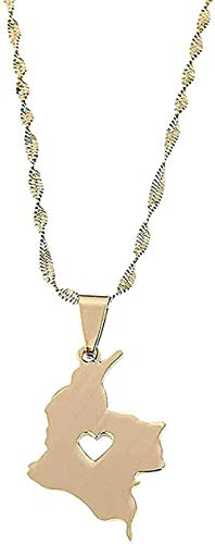 ZPPYMXGZ Co.,ltd Necklace Fashion Stainless Steel Necklace Colombia Map Pendant Necklace Gold Color Necklace Jewelry Colombian Heart Map